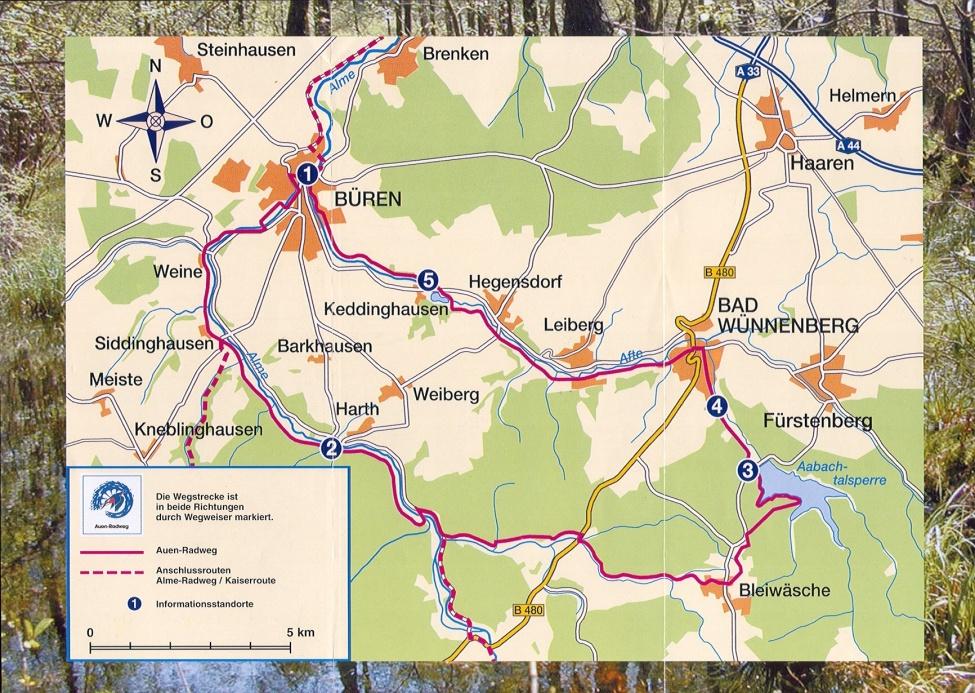 Streckenverlauf Auenradweg